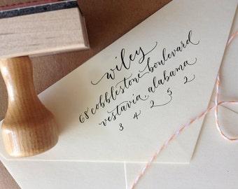 Custom Address Stamp Handwritten Calligraphy Return Address
