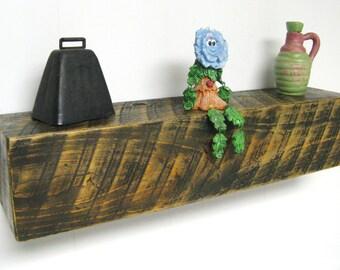 "MANTEL SHELF 24"" Floating Shelf - Barn Wood Beam with distressed finish - Wall Shelf - Box Beam - Wood Shelf - Wooden Shelf - Reclaimed Wood"