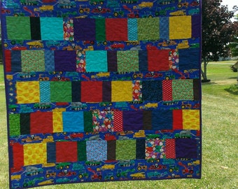 Turquoise trucks and teddy bears quilt