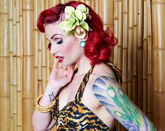 Double Rockabilly Green Orchid Hair Flower