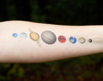 Solar System Gift Temporary Tattoo - Planets - Space Tattoo - Space Gift - Gift for Her - Gift for Him