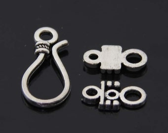 5 Sets 10pcs- S hook clasp, S toggle-Antique silver/Tibetain silver bracelet toggle jewelry findings-A5372