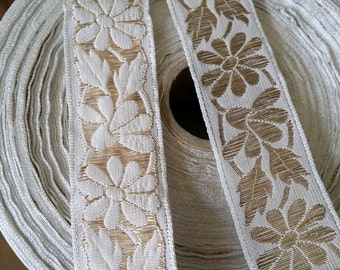 White and Metallic Gold  Vintage French Brocade Jacquard Ribbon Trim with florals