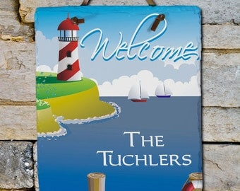 Lighthouse Welcome Slate Plaque -gfy63135966