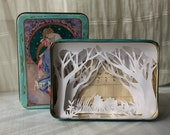 "Shadow box ""Secret Garden""  papercutting  in a vintage box. unique piece, free shipping"