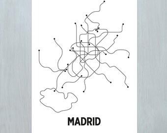 Madrid Lithograph - White/Black