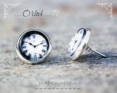 Clock studs Earrings,  Black & white Fun Jewelery,  from MADEbyMADA