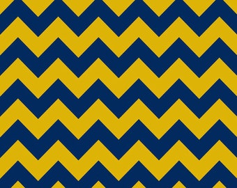 12 x 41 LAMINATED cotton fabric (similar to oilcloth) remnant - Blue & Gold chevron - Approved for children's products - washable laminate