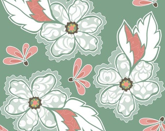 11 x 41 LAMINATED cotton fabric (similar to oilcloth) remnant - Valencia floral main by Lila Tueller- approved for children's products