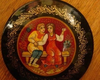 Russian  Fairytale Pin Vintage Black Lacquer Mstera Artist is Yurina