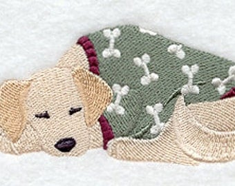 Golden Retriever in PJs with stuffed animal Embroidered Flour Sack Hand/Dish Towel
