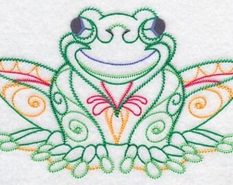 Festive Frog Embroidered Flour Sack Hand/Dish Towel