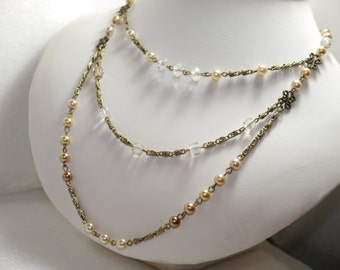 Downton Abbey Jewelry Style - Crystal and Glass Pearl Necklace