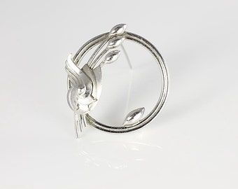 Wreath sterling silver Brooch, Cat Tail signed Carl Art, Vintage Nordic style jewelry,