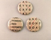 Set of 3 Three Buttons Badges Puzzle Pages Crossword Wordsearch Genuine Game Sheets Geeky Gift for Him Her Emo Goth Punk Hipster Scene Kids