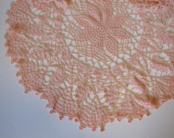 Vintage Crocheted Pink  Round Large Doiley