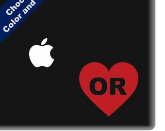 I Heart Oregon Decal - Love - for Laptop, Car, iPhone