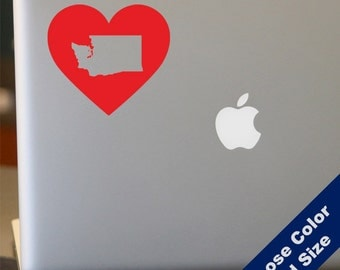 I Heart Washington State Decal - Love - for Laptop, Car, iPhone