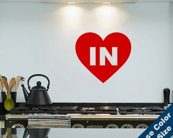 I Heart Indiana Wall Decal - Love Sticker - Free Shipping
