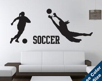 Girls Soccer Player Wall Decal Set - Sticker - Kids Room, Sports, School