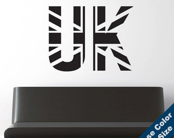 UK Flag Wall Decal - Vinyl Sticker - Free Shipping