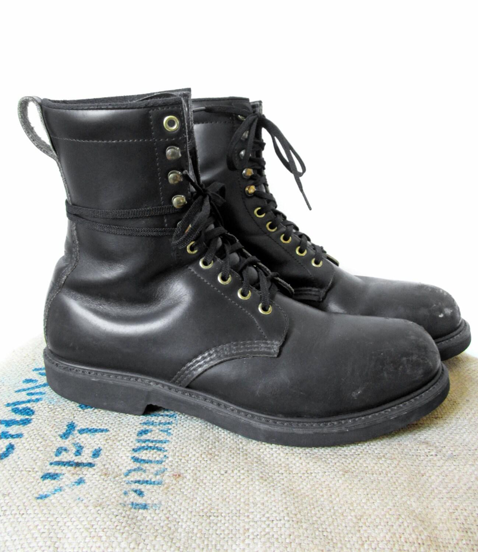 vintage black leather work boots steel toe by memoryvintage