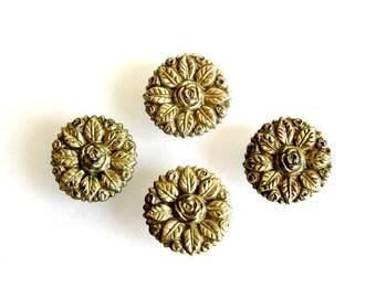 Vintage Floral Drawer Knob Roses and Leaves Set of 4