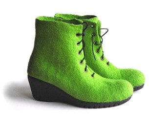 Felted boots from merino wool -rubber soles - made to order