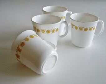 Vintage Corning Mugs - Butterfly Gold - Set of 4