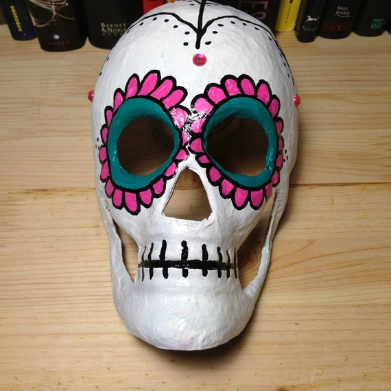 Pink & Teal Day of the Dead Skull Mask