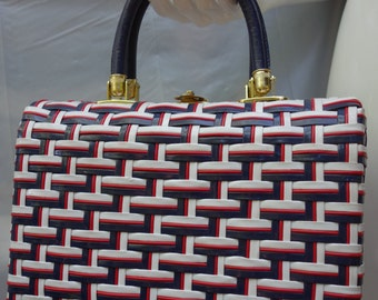 Vintage 50s MARCUS BROTHERS Red/Blue/White Woven Box Purse, Made in HongKong