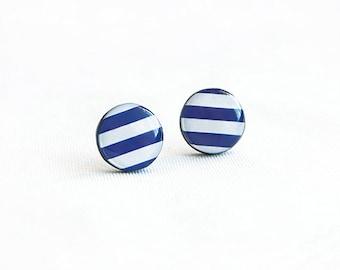Navy striped stud earrings, nautical jewelry, white blue post earrings, round ear studs