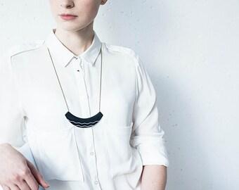 Black crescent necklace unique statement necklace