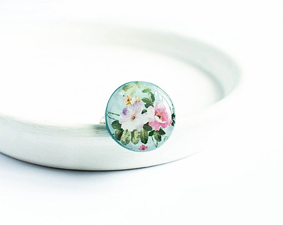 Peony flowers ring, garden jewelry, cottage shic, peony ring