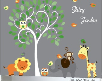 childrens tree wall decal jungle decal design gender neutral - 073