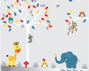 White tree wall decal for baby grey red blue yelllow childrens jungle wall art - 101