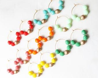 Colorful Czech Glass Beaded Hoop Earrings