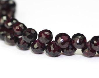 Garnet Micro Faceted Candy Kiss Briolettes 4 Dark Merlot Red Semi Precious Gemstone January Birthstone