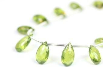 Vesuvianite Micro Faceted Pear Briolettes Matched Set Bright Green Semi Precious Gemstones