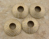 Etched Brass Bead Caps, White Urban Mesh Screen Pattern, 1 pair (2 caps), 15mm