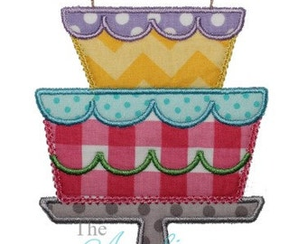 Birthday Cake Digital Embroidery Design Machine Applique