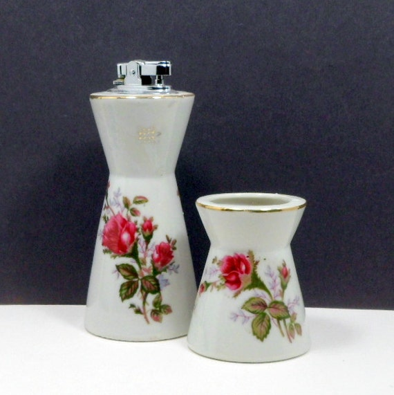 Vintage Table Lighter Cigarette Holder Porcelain Smoking Set Moss Rose C 1940s