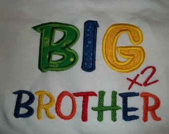 Big Brother Short Sleeve Appliqued Tshirt - Toddler Tshirt sizes 12 months to 5/6