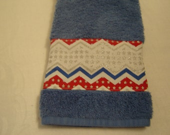 Hand/dish towel country blue w/red/blue/silver chevron stripes, stars, sparkly, 100% cotton terry, soft, Americana,  patriotic, hostess gift