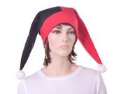 Red Black Jester Cap Split Two Point Harlequin Cap White pompoms