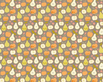 SALE - Clementine - In The Orchard Taupe Cotton Print Fabric from Blend Fabrics