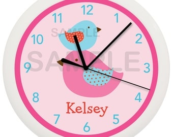 Pink Bird Personalized Nursery Wall Clock