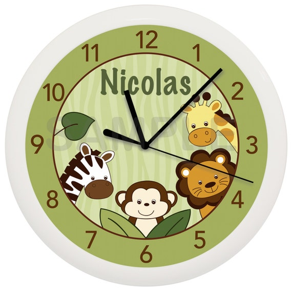 Safari Jungle Animal Personalized Nursery Wall Clock Any Name