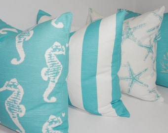 Set of 4 Decorative Pillow Covers Starfish Seahorse Stripe Coral Blue/White Beach Ocean Pillow Covers 18x18