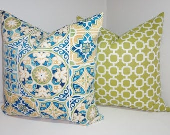 OUTDOOR Deck Patio Pillow Cover Mosaic Print Blue Yellow Green Geometric Outdoor Pillow Cover 18x18